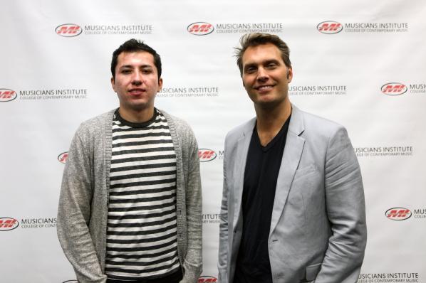 Jovany Rico (l.), with Jonathan Newkirk (Audio Engineering Program Chair)