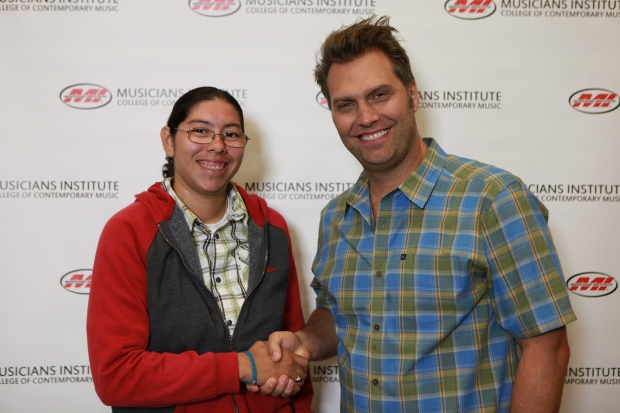 Gabriela Briseno with Jonathan Newkirk (Audio Engineering Program Chair)