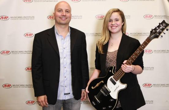 """Stig Mathisen (Guitar Program Chair) with Noel """"Elly"""" Waters"""