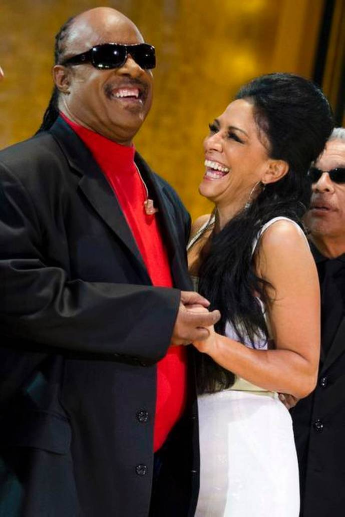 Stevie Wonder and Sheila E. appear onstage during the International Jazz Day Concert held at the United Nations General Assembly Hall 2012