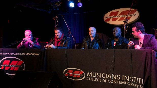 Judging panel L to R: Bob Terry, Russ Miller, Kenny Aronoff, Gorden Campbell, Donny Gruendler