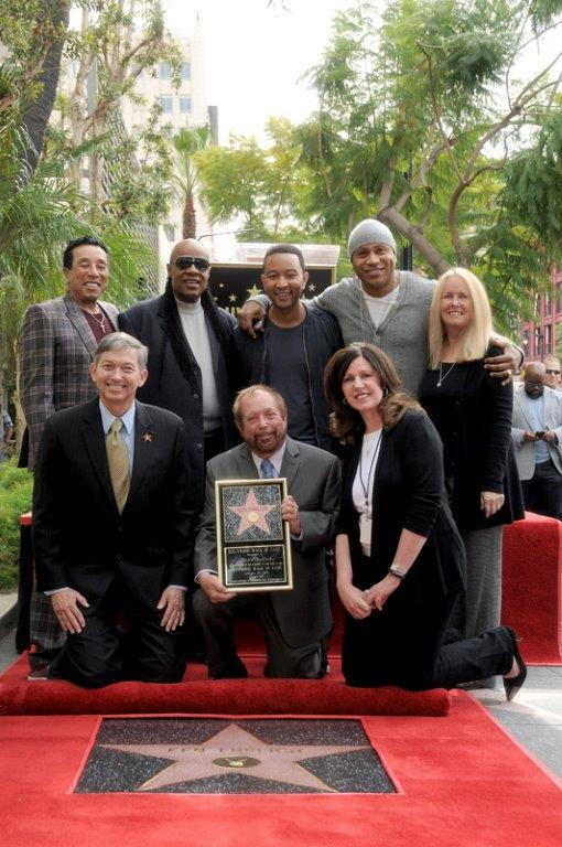 Leron Gubler, Ken Erhlich, Maureen Schultz  Back: Smokey Robinson, Stevie Wonder, John Legend, LL CoolJ, Beth Marlis at Capitol Records