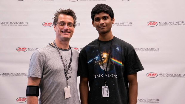 Drum Program Chair Stewart Jean with Avinash Ramachandra