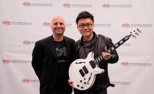 Guitar Program chair Stig Mathisen with Kaiwen (Kai) Zhang