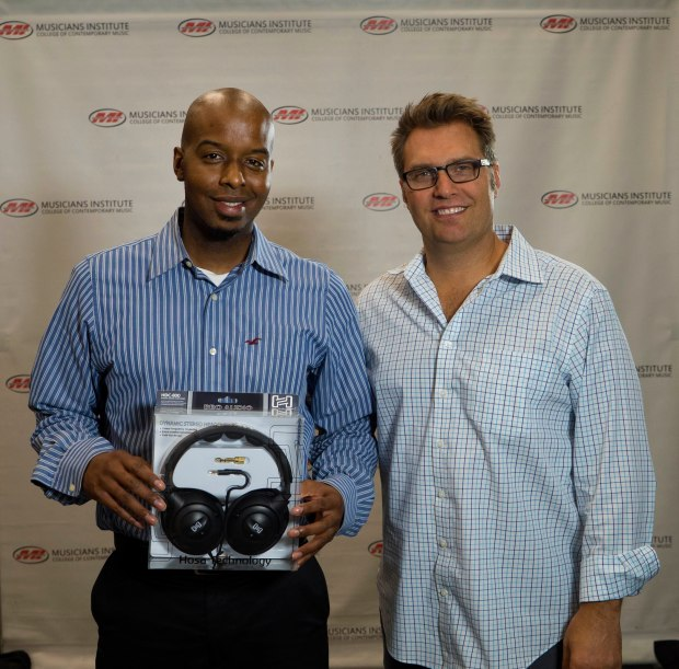 Clifton Harris (l.) with Audio Engineering Program Chair Jonathan Newkirk