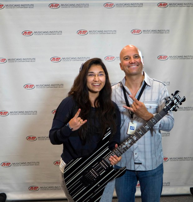 Jimena Fosado with Guitar Program Chair Stig Mathisen