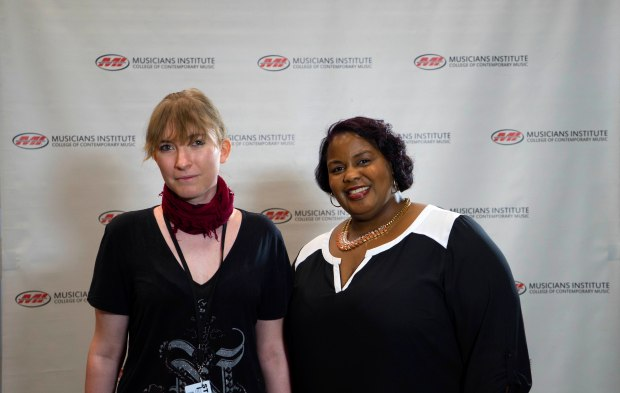 Tamara K.R. Meyer (l.) with Music Business Program Chair Stacy Turner (rt)