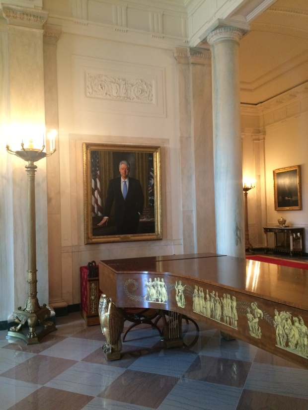 A potrait of the former Sax player in Chief stands guard over the 1938 Steinway that sits in the White Foyer.